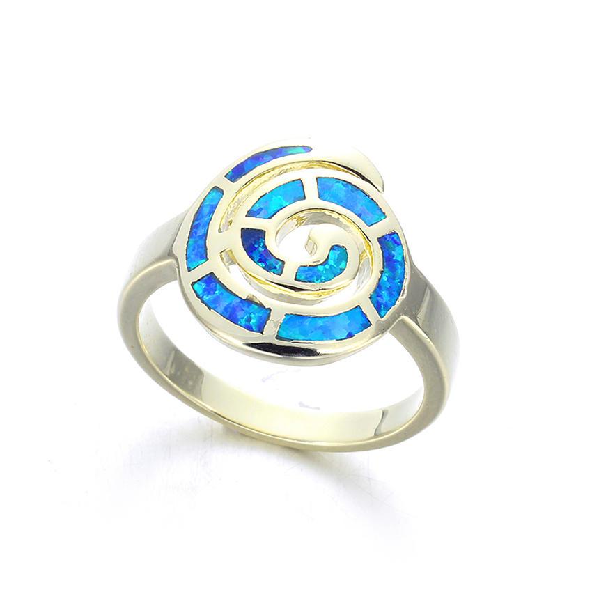 Elegant Women 925 Sterling Silver2*8mm Blue Opal Wedding Engagement Ring 103568