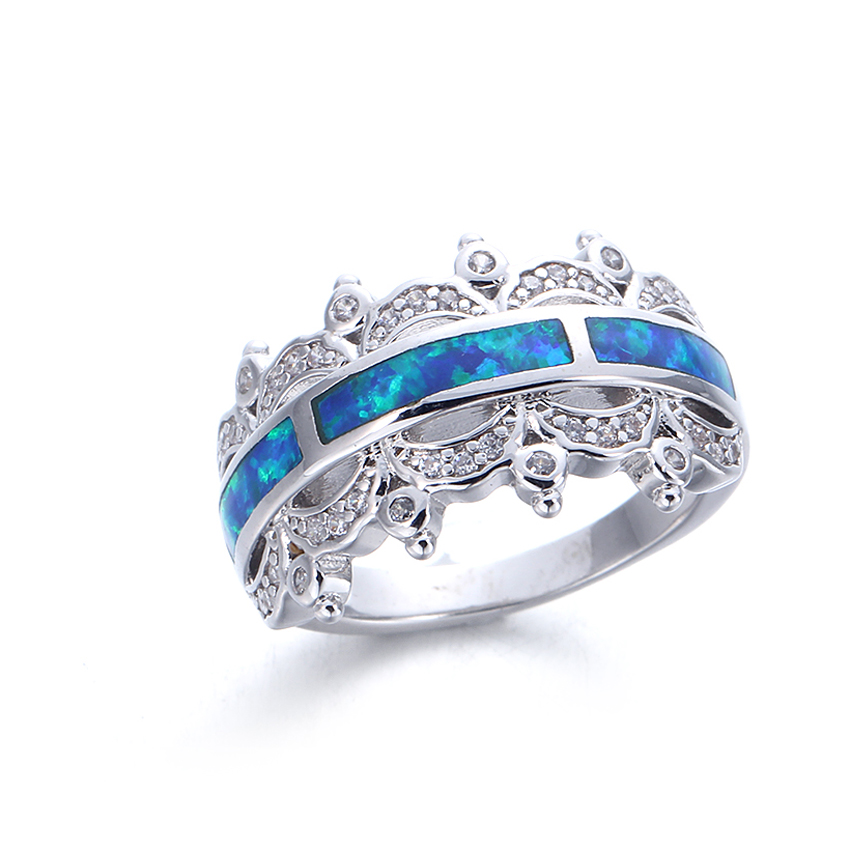 Kirin Jewelry -Best Silver Rings With Stones For Women 312 Mm Blue Opal