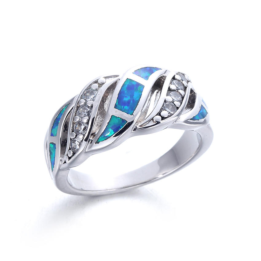 Classic Round Blue Opal Rings For Women Wedding Bands Jewelry 103574