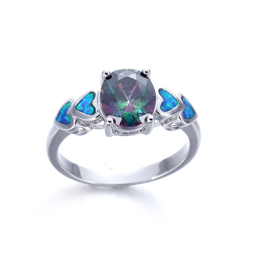Kirin Jewelry -Women Blue Opal 925 Sterling Silver Rings For Wedding Jewelry