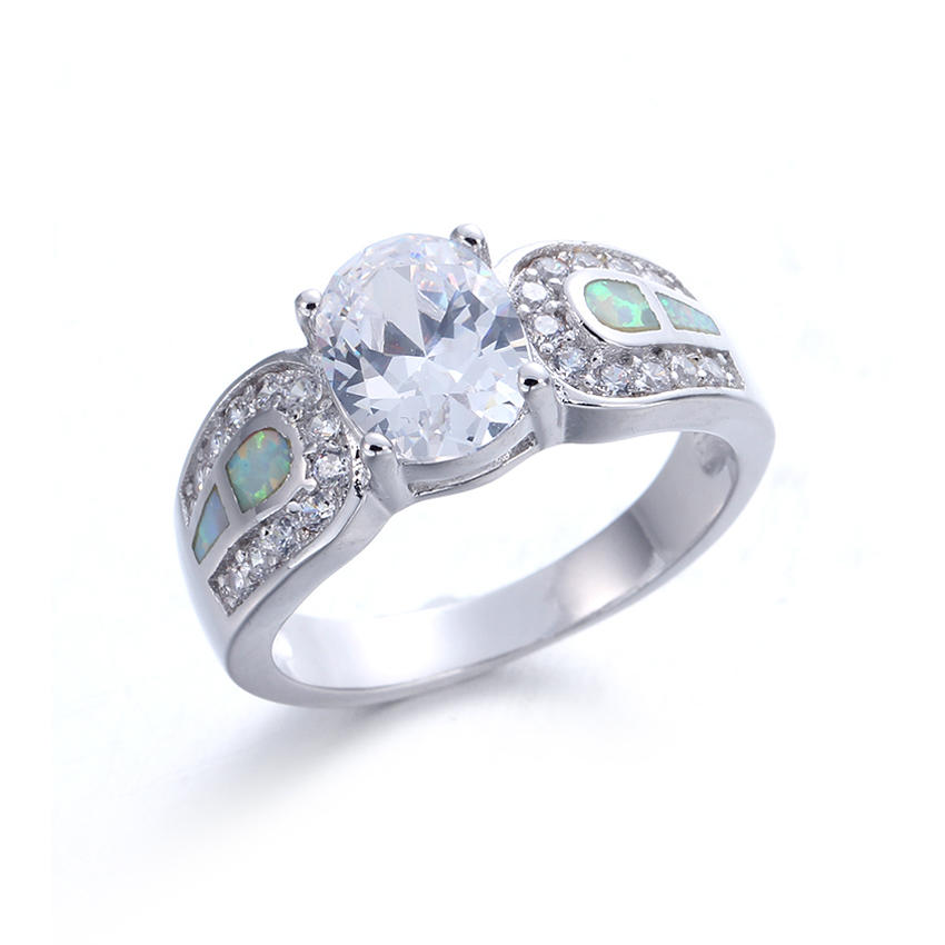 White Opal Ring Fashion 925 Sterling Silver Vintage Wedding Rings For Women Gifts 103576