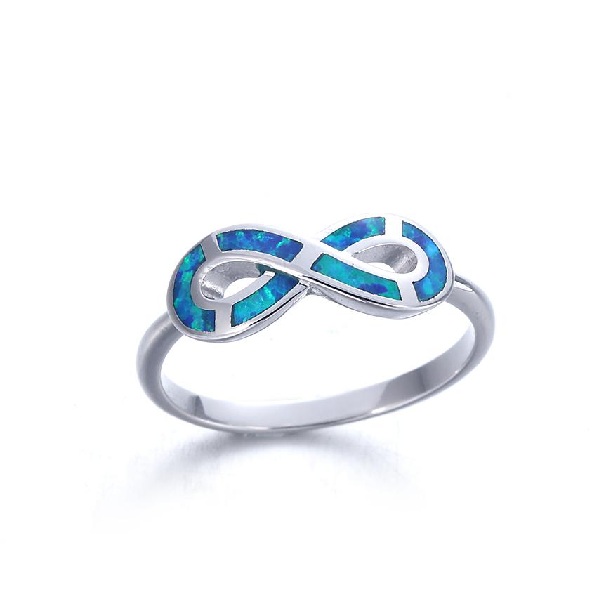Kirin Jewelry -Opal Rings For Sale 925 Sterling Silver Blue Opal Ring Jewelry