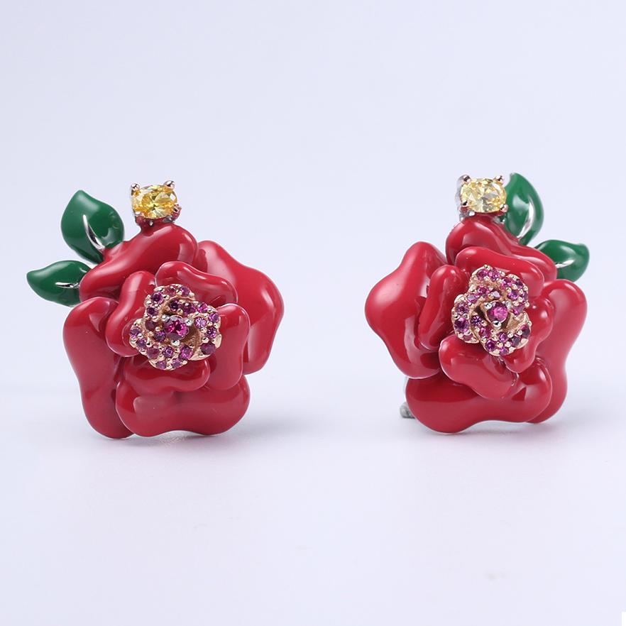 Women 925 Sterling Silver Flower Shape Jewelry Earrings Pendant Ring 84425