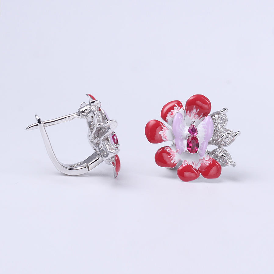 Cute 925 Sterling Silver Mixcolor Enamel Ring Earring Jewelry Set for Women 84427