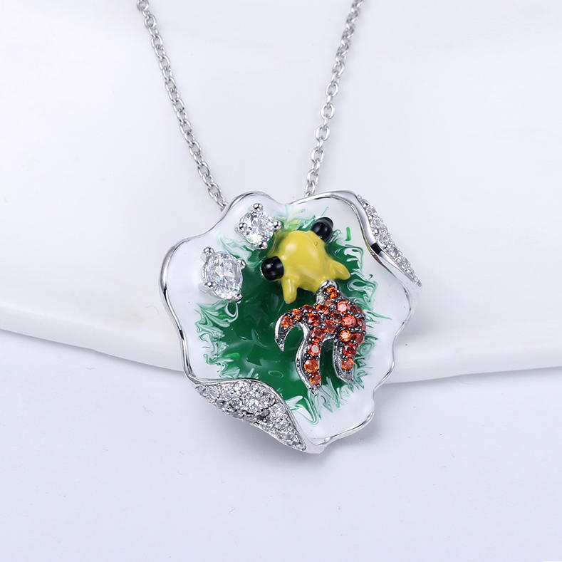 Wholesale Women 925 Sterling Silver Enamel Pendant and Ring Jewelry set 84431
