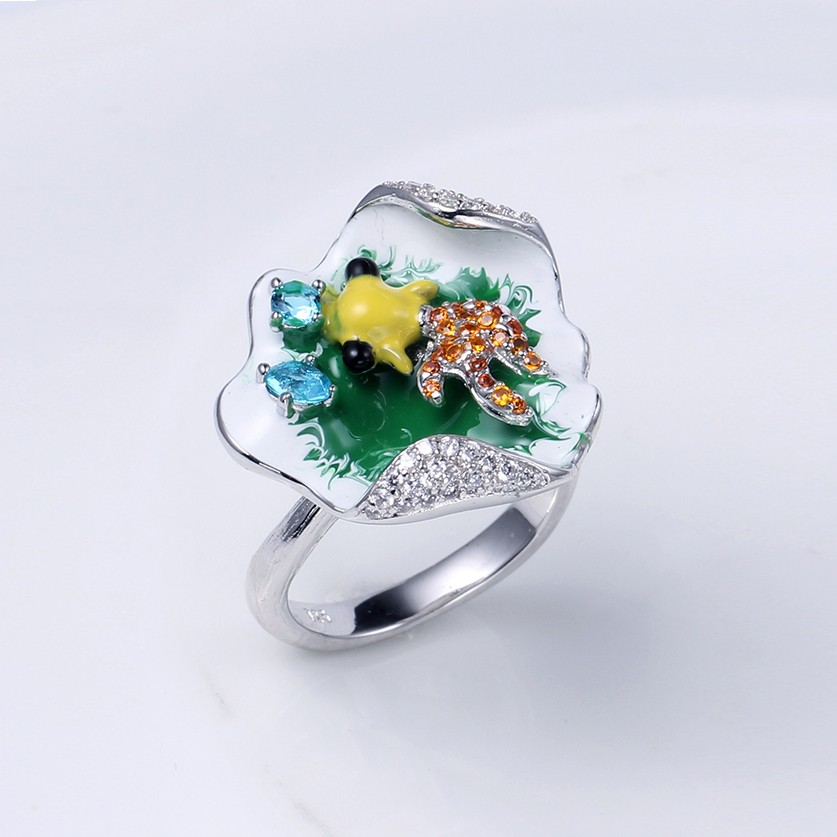 Kirin Jewelry -Wholesale Women 925 Sterling Silver Enamel Pendant And Ring-1