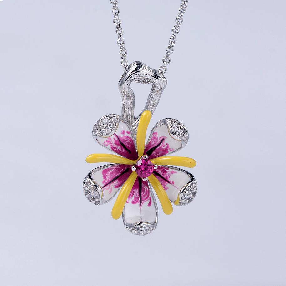 925 Sterling Silver Enamel Wedding Engagement Ring/Pendant/Earring Jewelry Gift for Women 84433