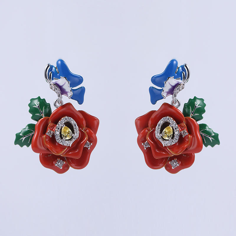 925 Sterling Silver Flower Enamel Jewelry set Cute Earring/Ring/Pendant 84458