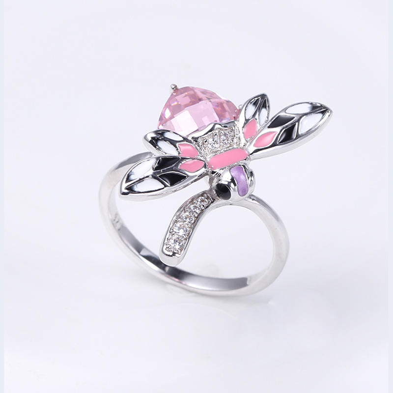 Women Cute 925 Sterling Silver Enamel Earring/Ring/Pendant Jewelry Set 84495