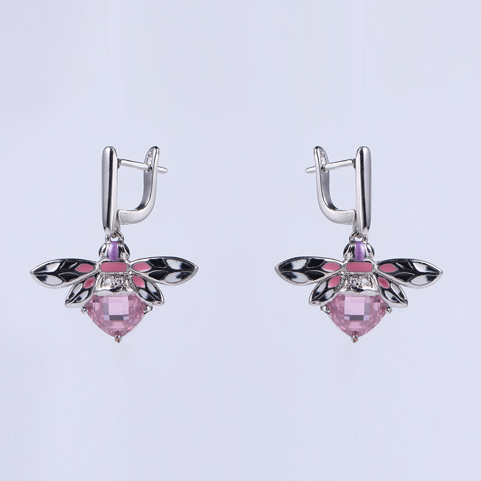 Women Cute 925 Sterling Silver Enamel Earring/Ring/Pendant Jewelry Set 84495