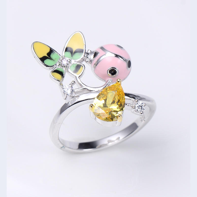 Women 925 Sterling Silver Enamel Flower Finger Ring /Earring/Pendant Jewelry set 84496