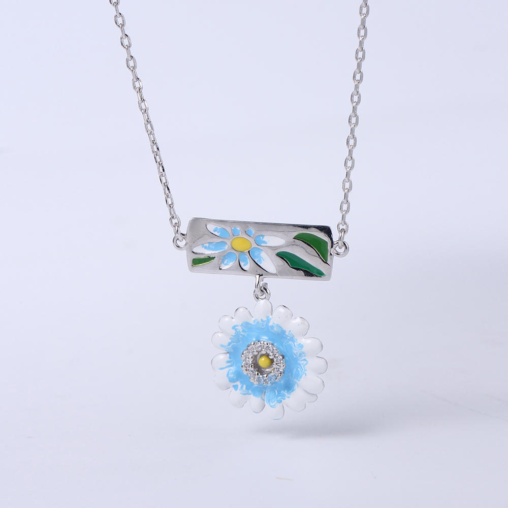 Enamel Flower Earrings/Pendant Charms 925 Sterling Silver Woman Wedding Fashion Jewelry Set  84498