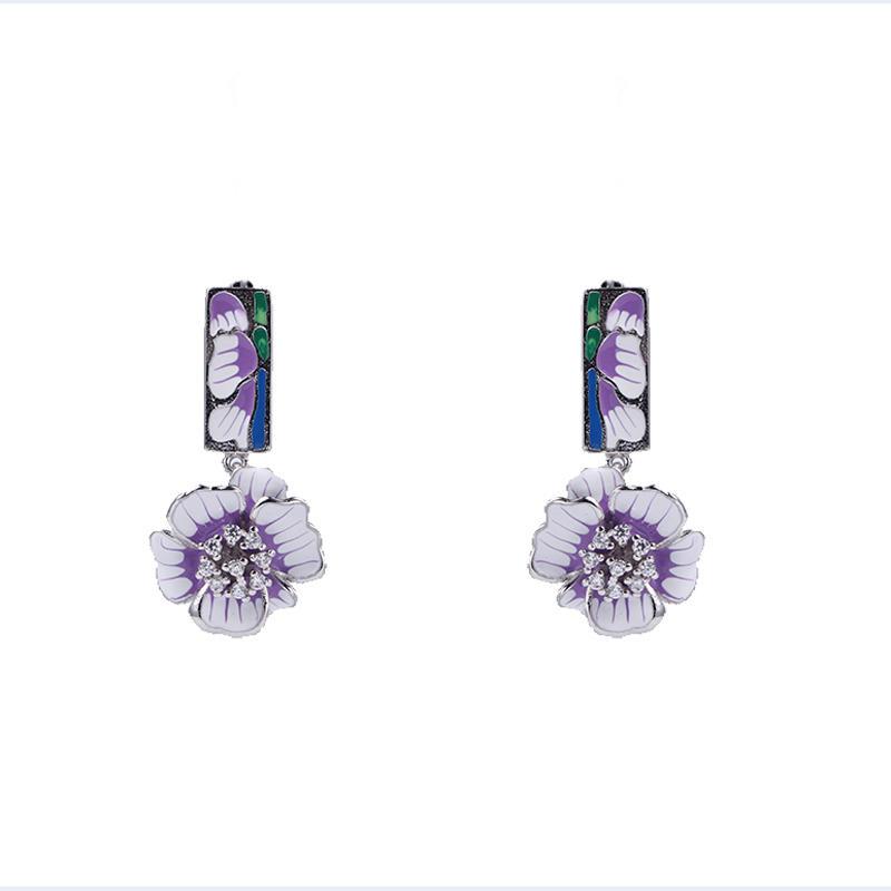 Bridal Womens New Fashion Jewelry set Enamel Flower 925 Silver Earrings /Pendant 84500
