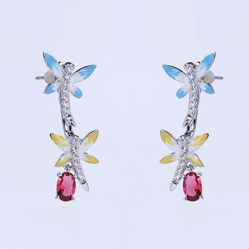 1 set Women 925 Sterling Silver Enamel Jewelry Wedding Party Pendant/Earring/Ring 84909