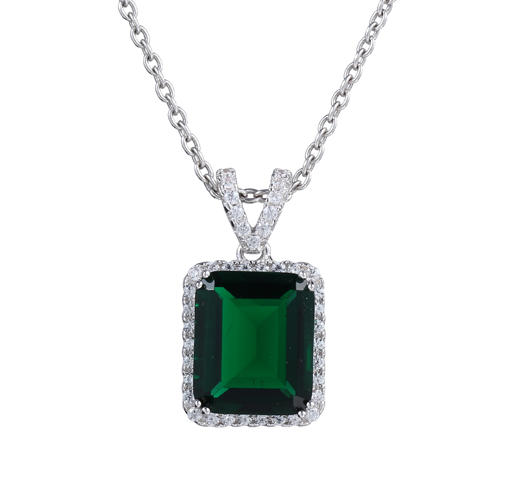Women Real 925 Sterling Silver Green Spinel &Cubic Zirconia Pendant Necklace 27317