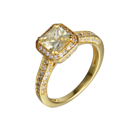 Kirin Jewelry -Unique Sterling Silver Rings, Women Fashion Cubic Zircon 14K Gold