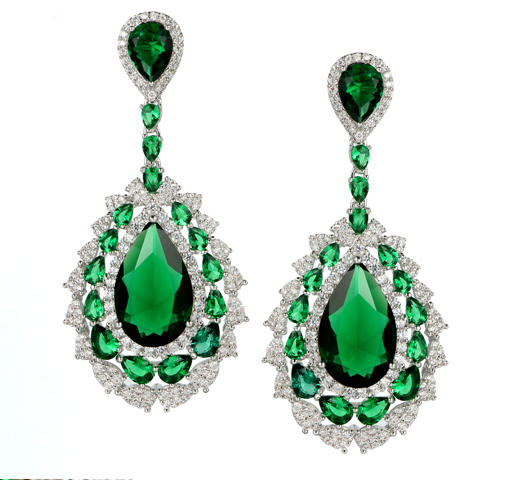 Chic Women 925 Sterling Silver Cubic Zirconia Earrings Dangle 83901