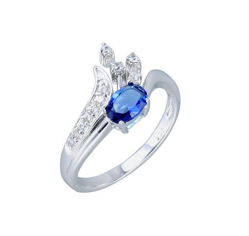 Women 925 Sterling Silver Cubic Zirconia Oval Shape Rings Jewelry 84757