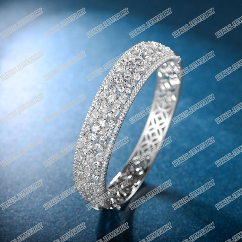 product-925 Sterling silver bangle with AAA cubic zircon bangle for women 51357-Kirin -img