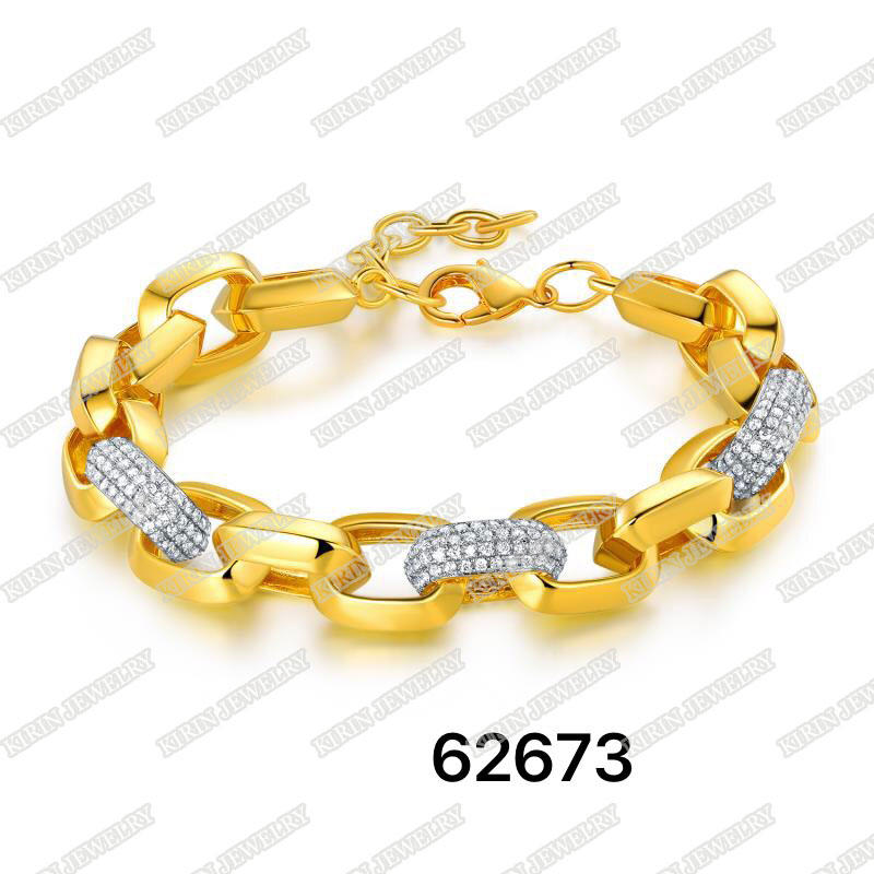 925 sterling silver bracelet with gold plating for men 62675