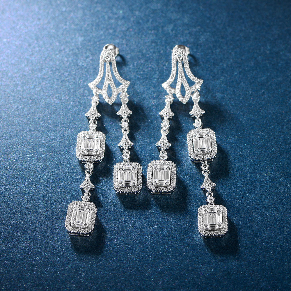 New Unique Diversified Design Long Drop 925 Silver Earrings 300416
