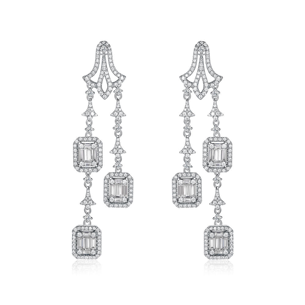 New Unique Diversified Design Long Drop 925 Silver Earrings 300416