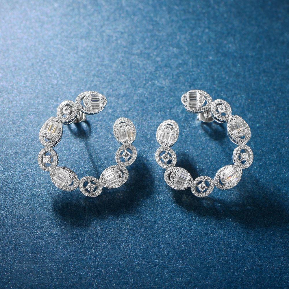 925 Sterling Silver CZ Earrings 300555