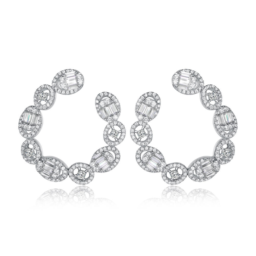 925 Sterling Silver CZ Earrings 300555