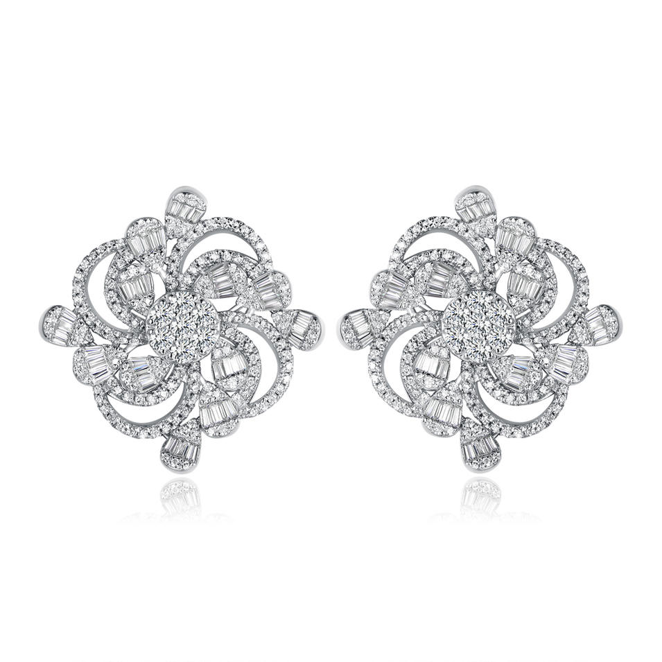 925 Sterling Silver Stud Earrings for Women Fine Jewelry 300572