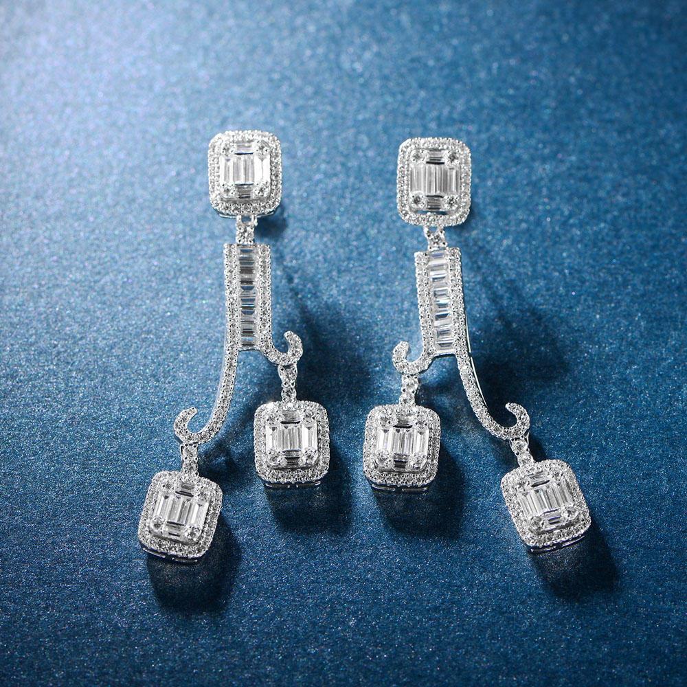 Trendy design for Women Earrings Jewelry 925 Sterling Silver Long Drop earrings 300611