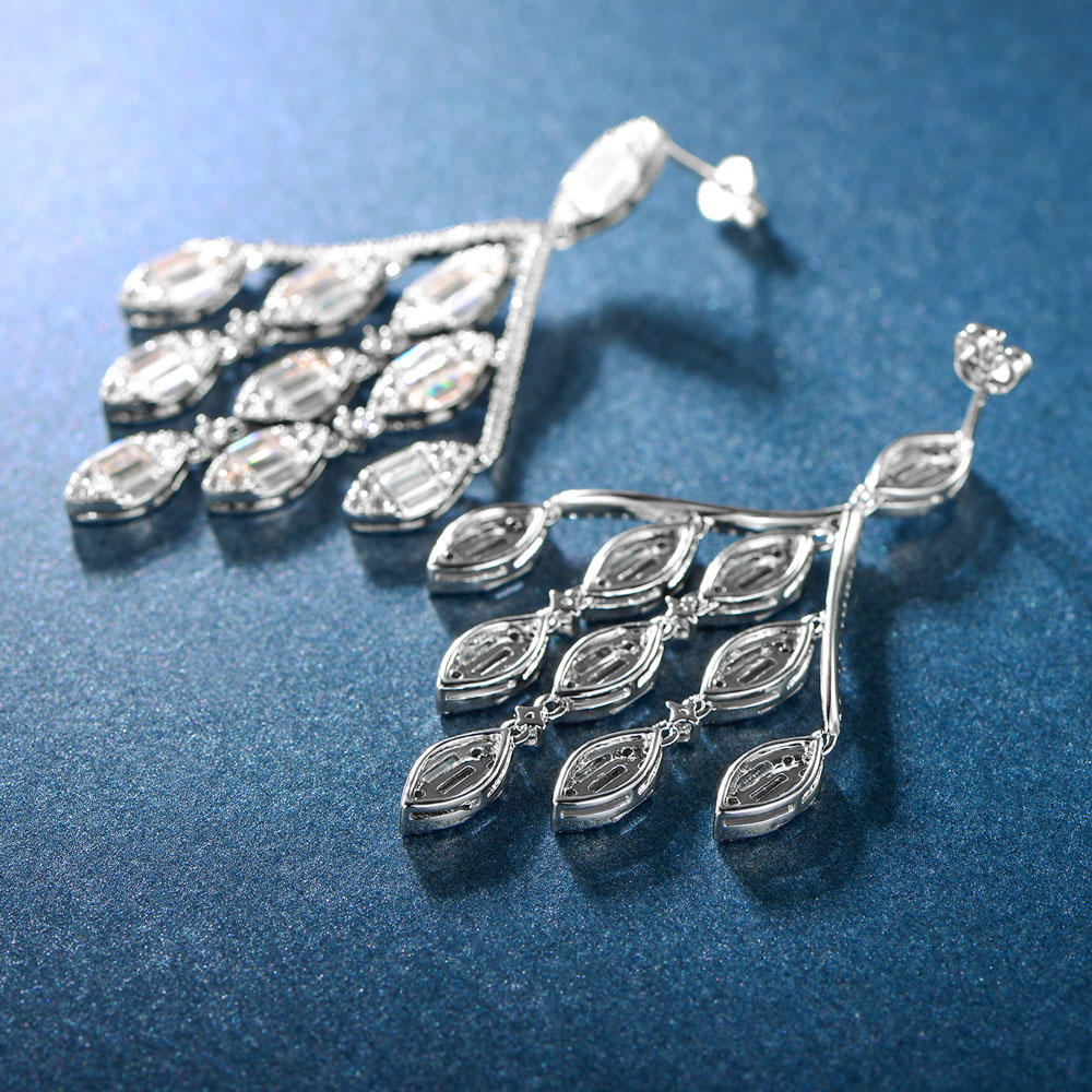 925 Sterling Silver Long Hanging Drop Earring 300613