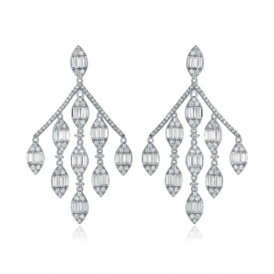 925 Sterling Silver Long Hanging Drop Earring 300613
