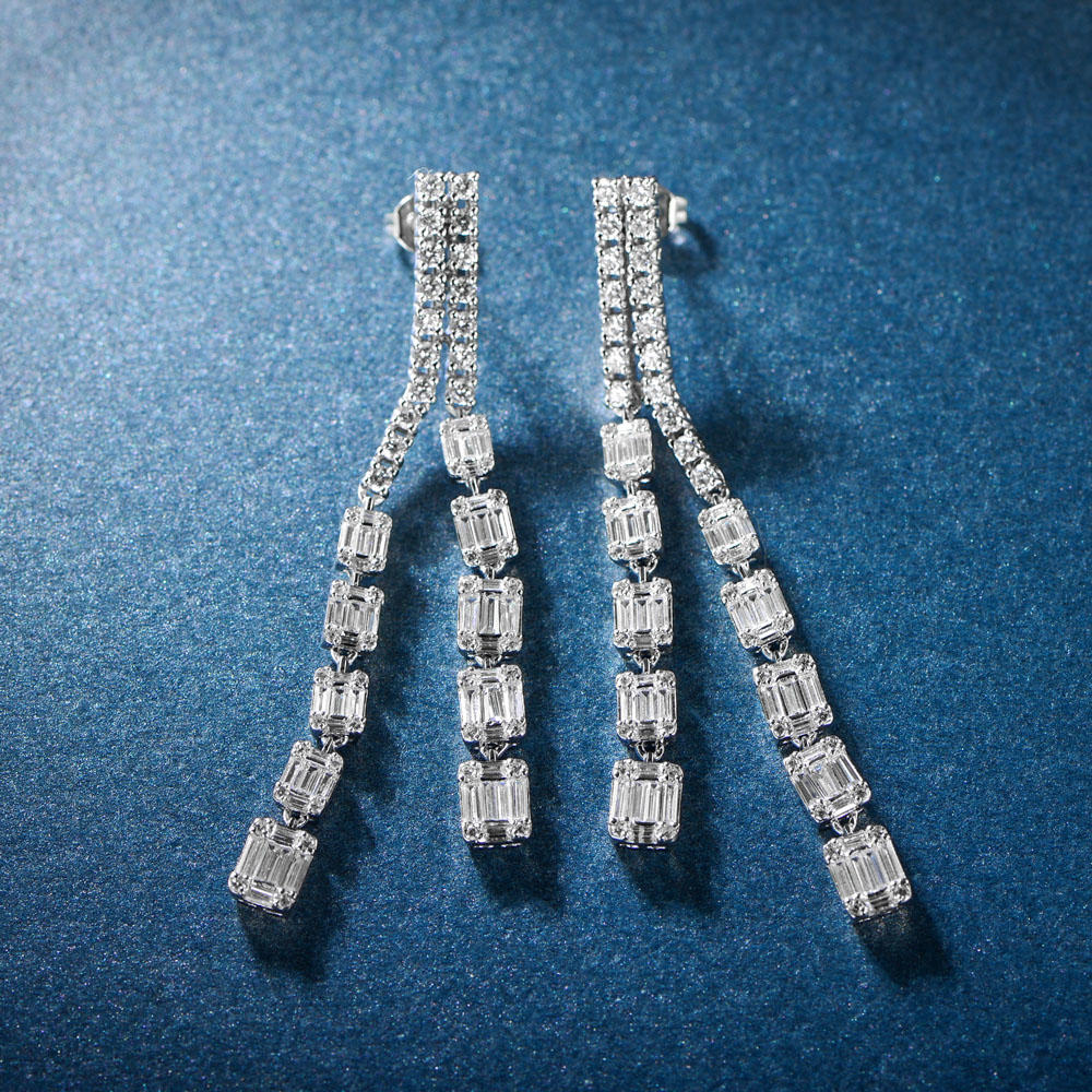 Fashion fine jewelry drop cubic zirconia long chain earrings 300776
