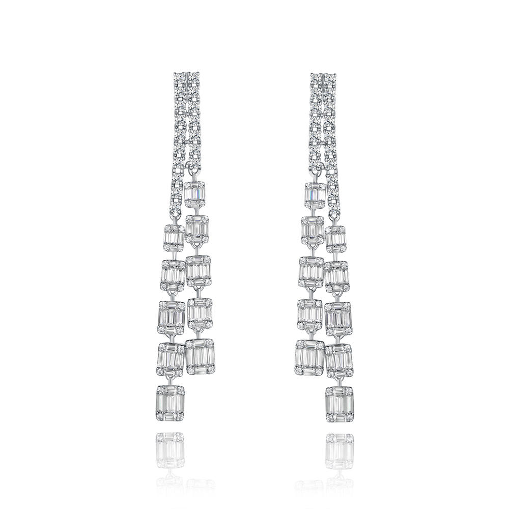 Fashion fine jewelry drop cubic zirconia long chain earrings 300776