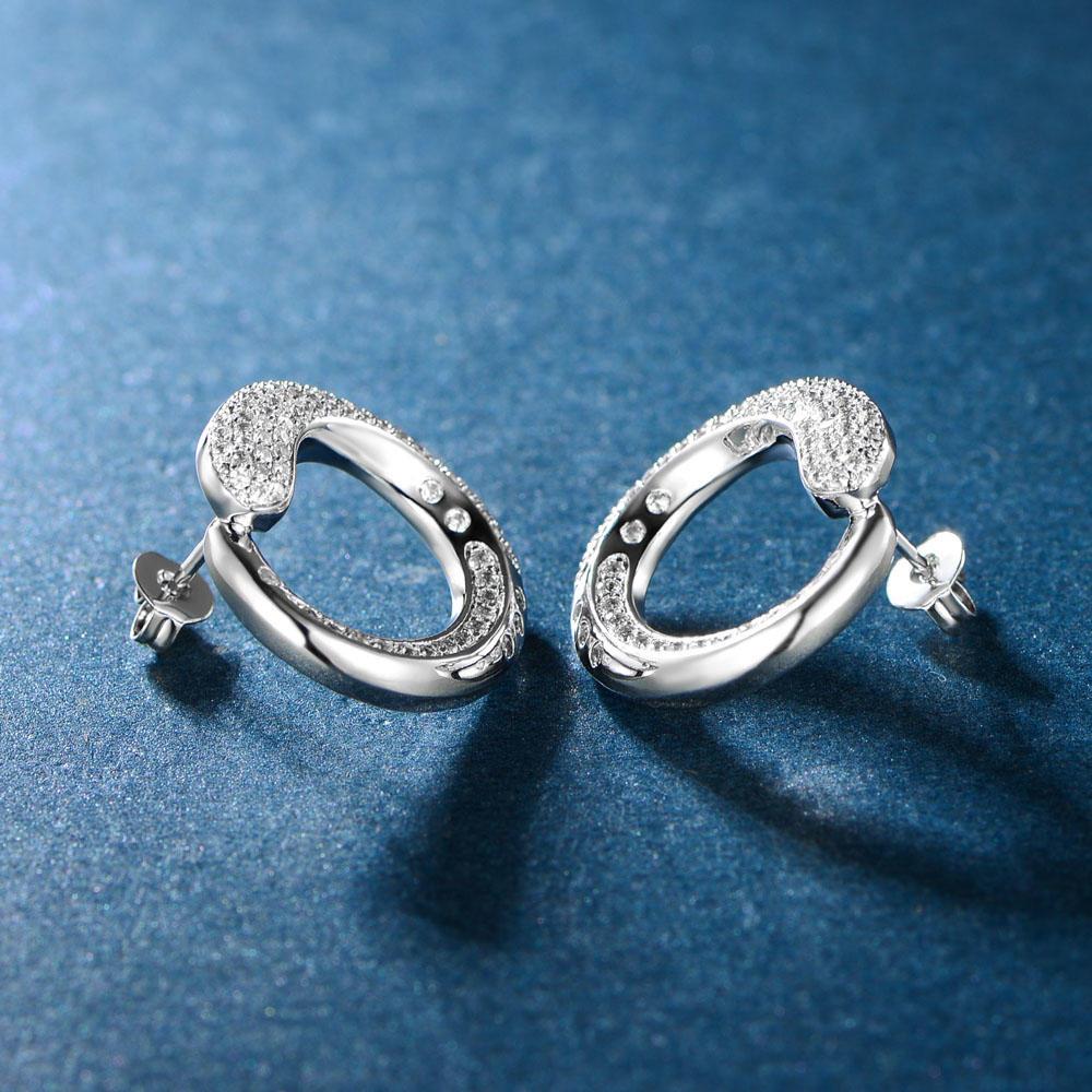 Classical Stud Earrings 925 Sterling Silver Fine Earring Jewelry 300866