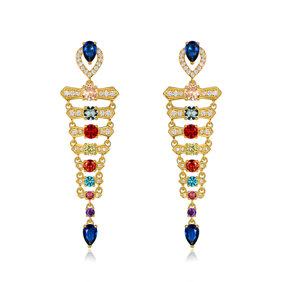 Custom Best Selling Colour Cubic Zirconia Drop Earrings 18K Gold Plating 300871