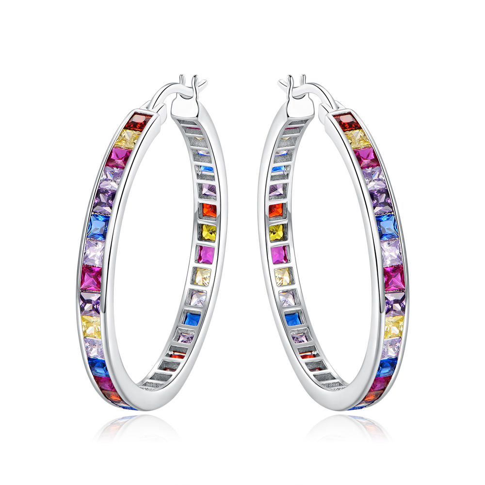 Color CZ Hoop Earrings Fashion Earring for Women 301159