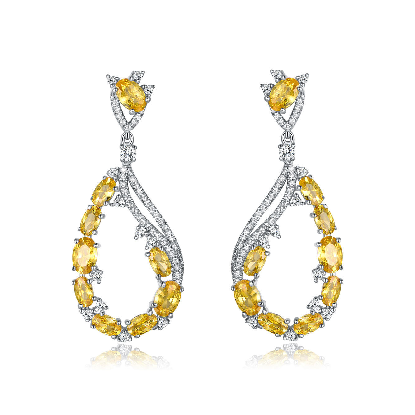 Yellow White CZ Silver Drop Earrings for Women 86406E