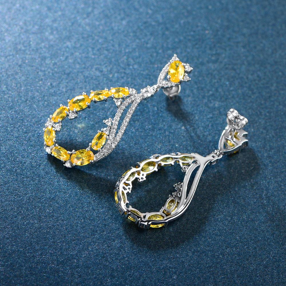 Yellow White CZ Silver Drop Earrings for Women 86406E