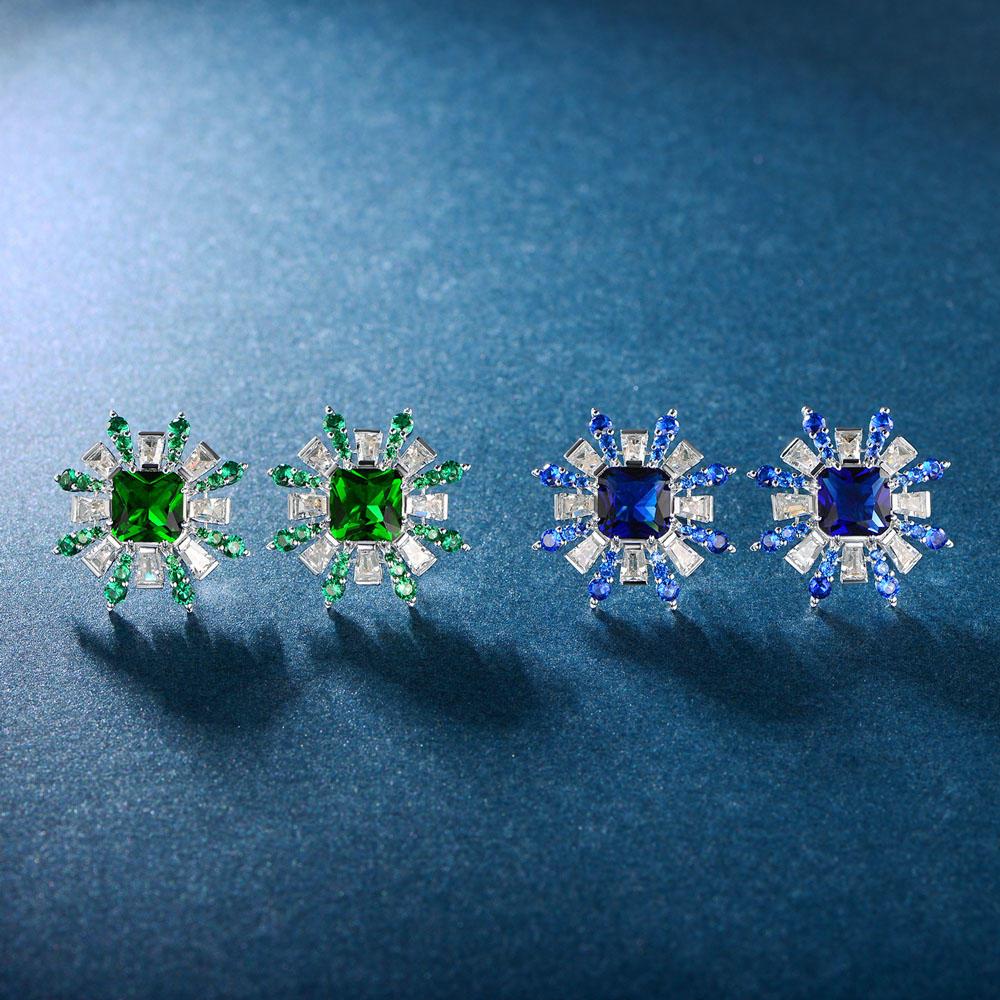 925 sterling silver earrings for women emerald cubic zircon 86738E