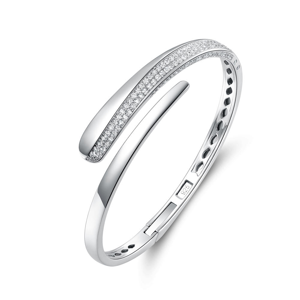 925 Sterling Silver Pave CZ Bangle for Women 86737B