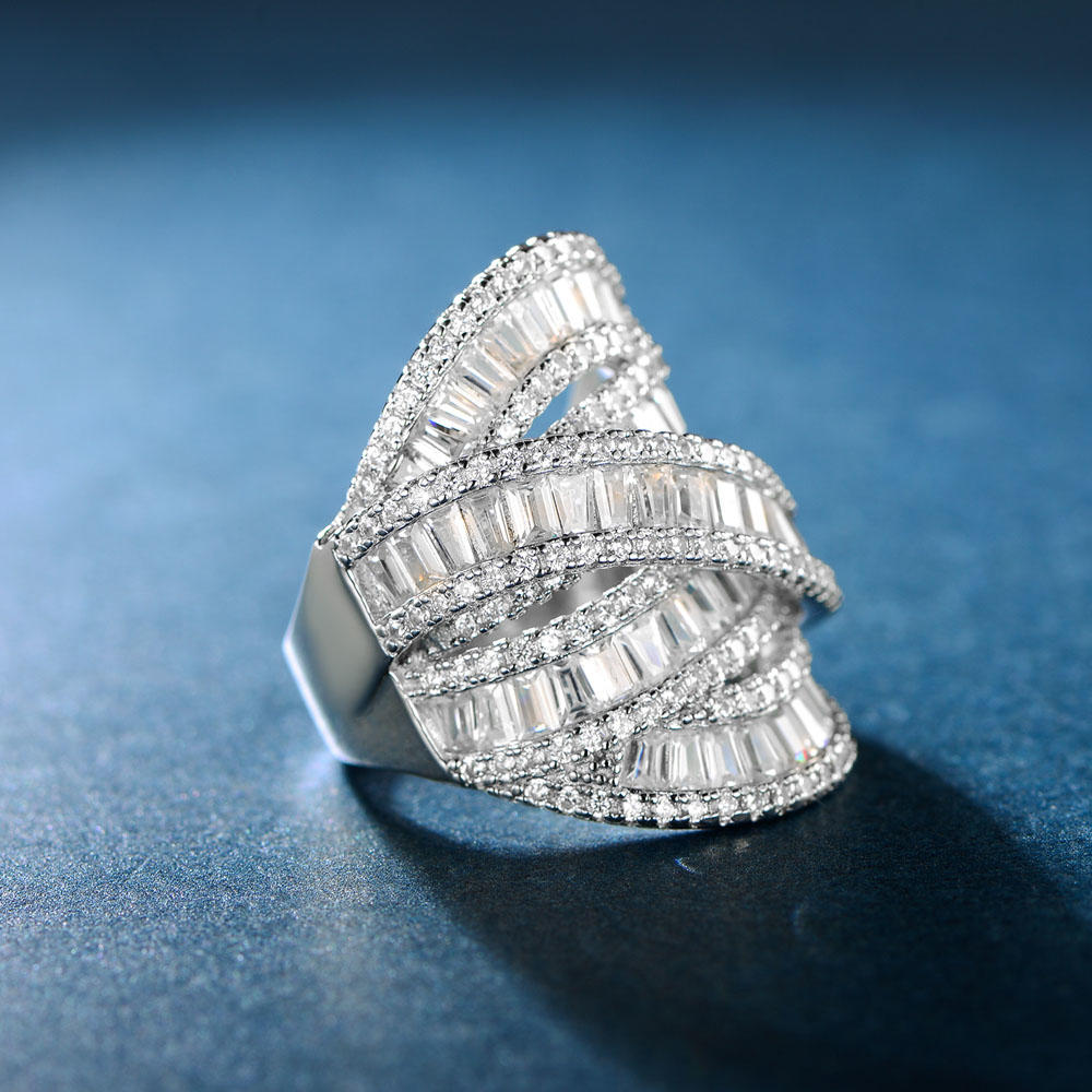 Baguette Silver Ring High Quality Jewelry 107317