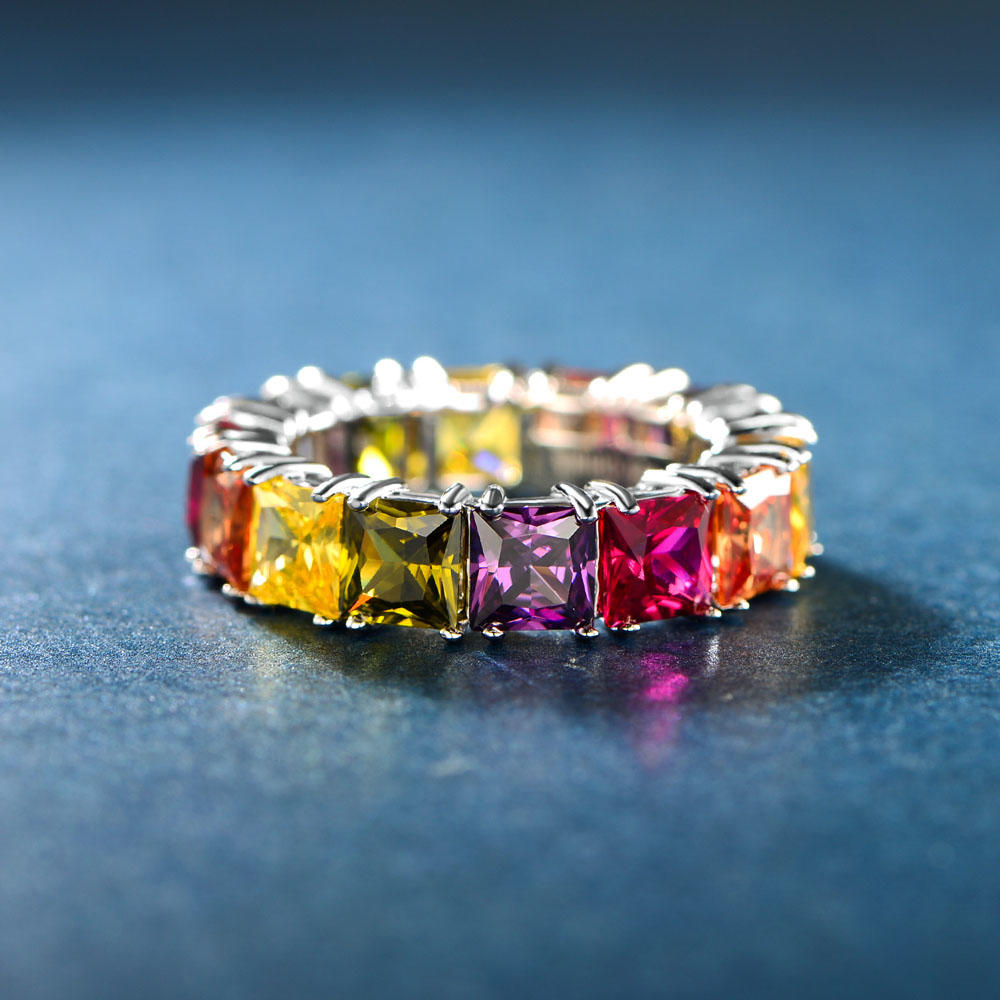Eternity Ring Princess Cut Colour CZ Ring Jewelry 107082