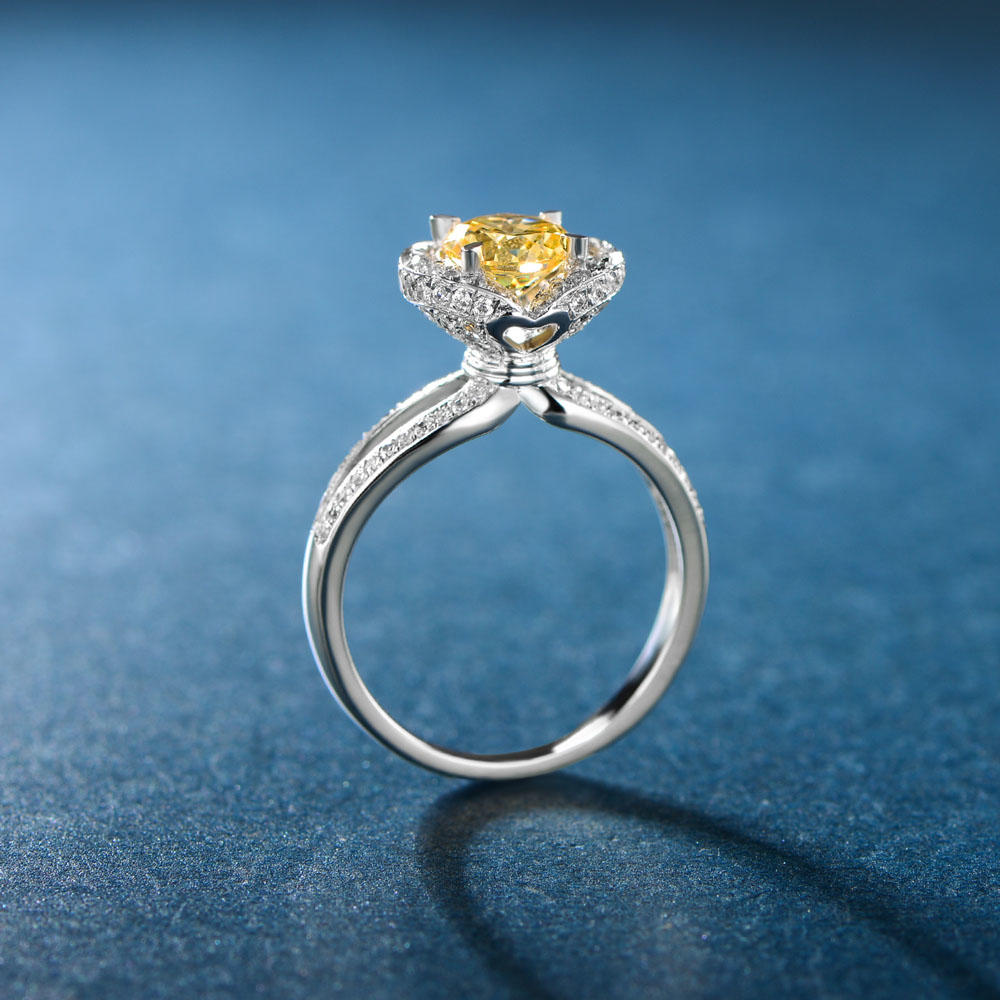 925 Silver Ring Heart Ring for Women Yellow CZ Jewelry 106766