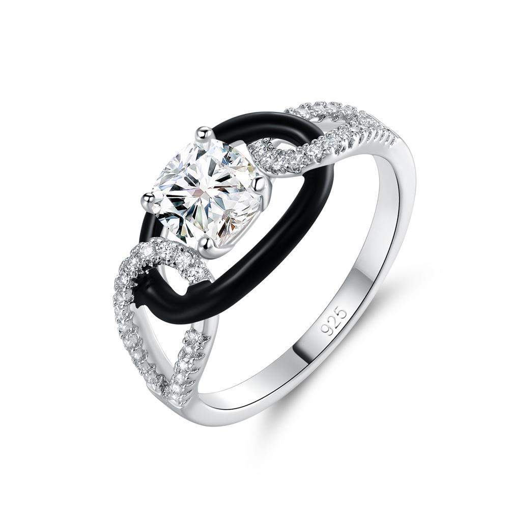 925 Sterling Silver Wedding Ring Black Enamel Ring 105374