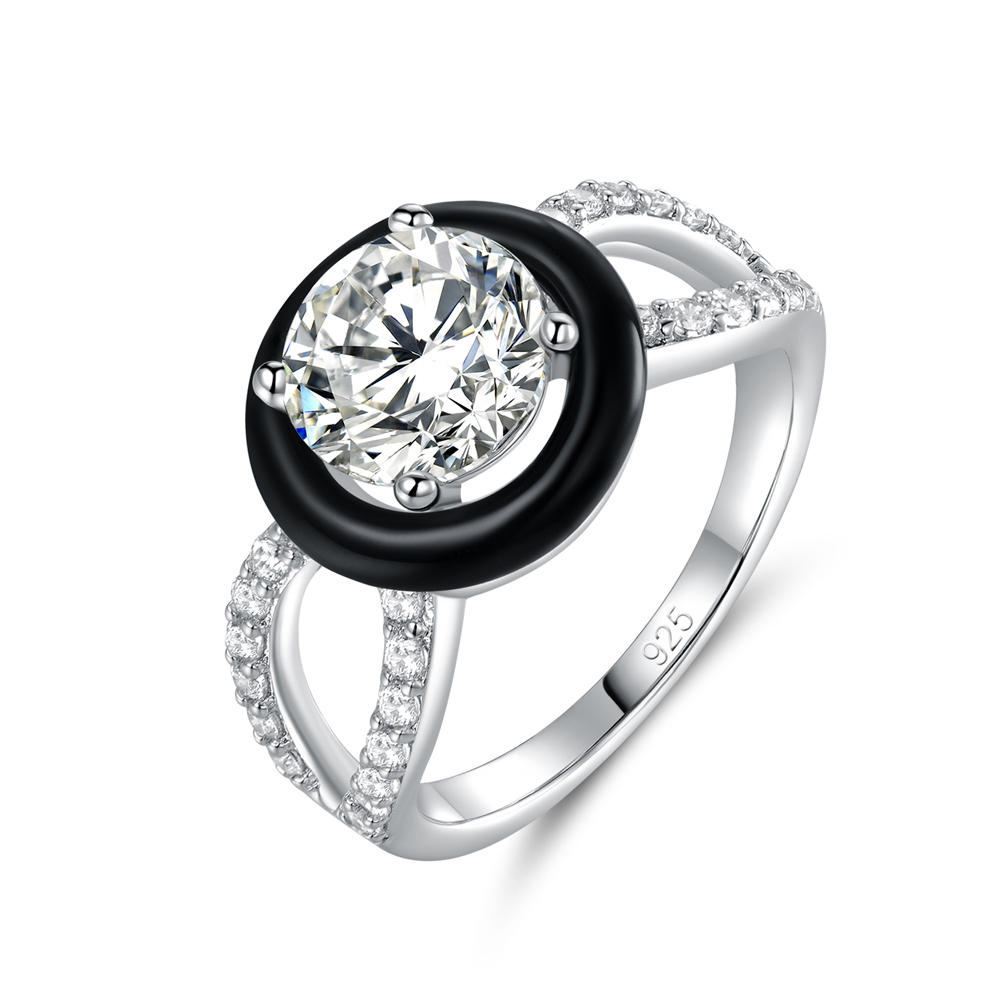 Silver Wedding Engagement Ring Black Enamel Jewelry 105376