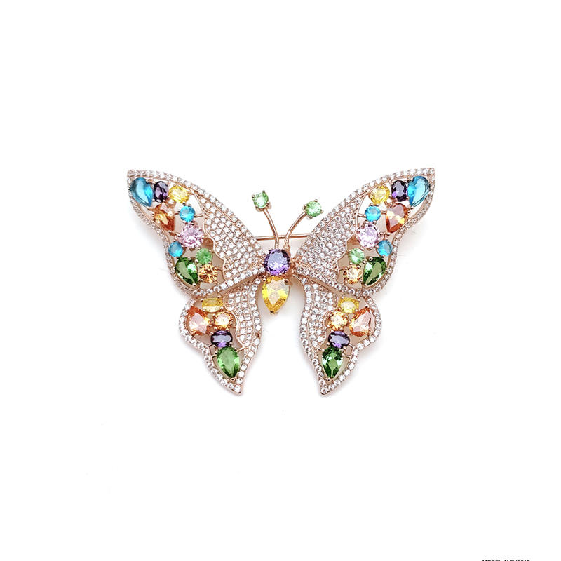 Butterfly Multi Color 925 Sterling Silver Brooch for Wonman 40219