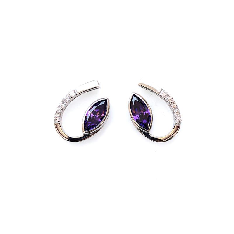 Purple Pretty 925 Sterling Silver Earrings for Woman 32079