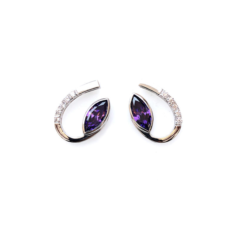 Purple Pretty 925 Sterling Silver Earrings for Woman 32079