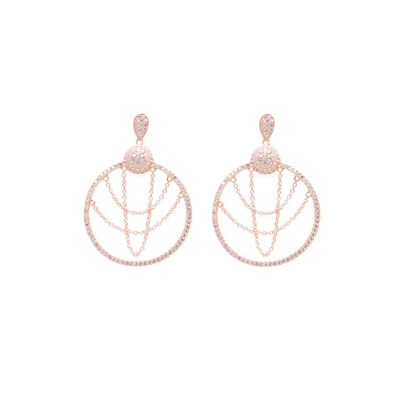 Round Shape 925 Sterling Silver Earrings for Woman 34711